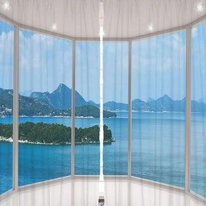 Curtains Ocean Island Balcony Print Backdrop 8264